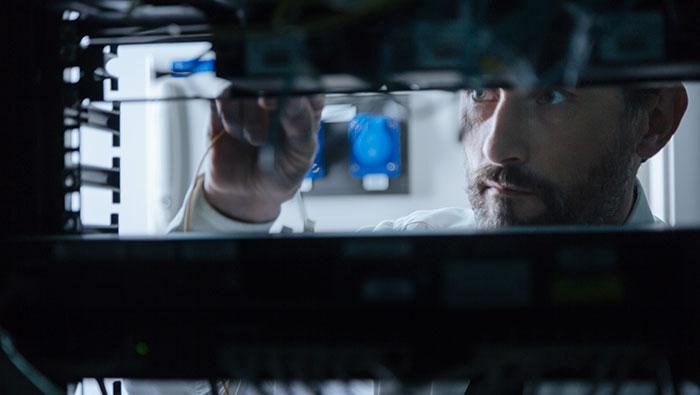 Man working on server
